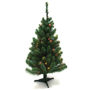 0.6m Artificial Mini Tabletop Christmas Tree Green with Multi Colour LED Light