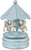Clayre & Eef 6MB0009 Decorative Blue Musical Carousel Music Box Approx. Diameter 10 x 20 cm