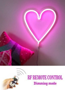 REMOTE CONTROL USB & BATTERY OPERATED PINK LOVE HEART LED Neon Light LED Wall Light Neon LED Heart Light