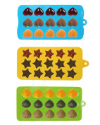 . 3pcs Chocolate and Candy Moulds Silicone Mould & Ice Cube Trays, Hearts, Stars & Shells Shapes Moulds for Making Homemade Chocolate, Candy, Gummy, Jelly, Green+Blue+Yellow
