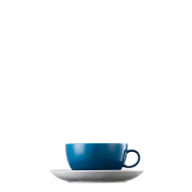 Thomas Sunny Day Cappuccino Cup with Saucer, Porcelain, Petrol Blue, Dishwasher Proof, 380 ml, 2Pcs., 14670