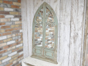 Large Decorative Gothic Arched Door Style Wooden Framed Wall Mirror 131cm