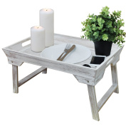 Breakfast tray with folding legs 25x48x32cm - White/Brown