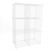 Modular shelving closet storage organising 6 metal cube 35x35cm white by PrimeMatik