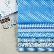 7 Pc Cloth Sewing Bundle Cotton Fabric for Quilting 25*25cm - Light Blue Series