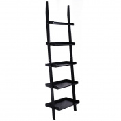 BK/WH 5-Tier Leaning Wall Display Bookcase - Black