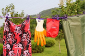 Outdoor Travel Camping Portable Drying Clothes Lines Hanging Rope With 12Clips Blue