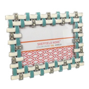 Rhinestone Jewelled Gold Turquoise Blue White Enamel 4 x 6 Picture Frame