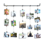 Hanging Photo Organiser Rail With Chains and 32 Clips Grey
