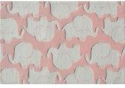 The Rug Market Elephant Plush Floor Rug, Pink/White, 2.8x4.8