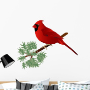 Male Cardinal Wall Decal by Wallmonkeys Peel and Stick Graphic (90cm H x 90cm W) WM3197