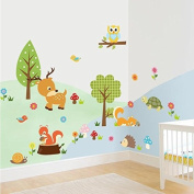 Animal Wall Sticker - 1 Piece Lovely Jungle Animals Wall Stickers Kids Room Decor Home Decals Owls Tree Mural Art Cartoon Zoo Poster