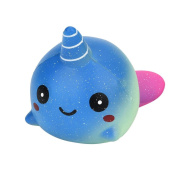 12cm Starry Sky Whale Squeeze Decompression Toys,Mamum Exquisite Fun Big Whale Scented Squishy Charm Slow Rising 12cm Simulation Toy