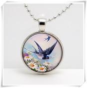 Blue Swallow Flying Vintage Print Art Glass Pendant