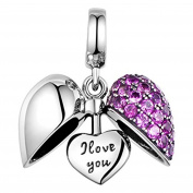 I Love You - Silver Heart Crystal Charm - Sterling Silver 925 Charm Bracelet Bead