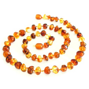 Natural Amber Necklace, Unisex, 48 cm, Several Duo Colour Combinations Ayurveda - 100% Baltic Amber, Individually Knotted Beads, Sun Stone, Ayurvedic Jewellery for Men and Women [AmML700]