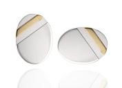 925 Sterling Silver 9ct Gold Stripe Oval Cufflinks