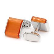 Kemstone Orange Opal Silver Tone Cufflinks