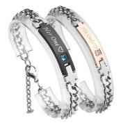 ❤VALENTINES GIFTS❤ PiercingJ Stainless Steel CZ Love for Men Women Couple Bracelet Link Chain Wrist Bangles Gift Set for Lover