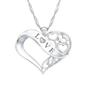'Love' Granddaughter Solid Sterling Silver Diamond Pendant With Open Heart Featuring 'LOVE', Heart Filigree, And Genuine Diamond. Reverse Side Engraved Exclusively Available From The Bradford Exchange