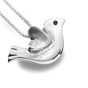 Brushed Finish Sterling Silver Bird and Heart Pendant