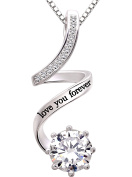"""ALOV Jewellery Sterling Silver """"love you forever"""" Cubic Zirconia Pendant Necklace"""