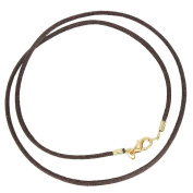 Brown Silk Cord Chain Necklace 2mm with Clasp Gold or Silver Plated