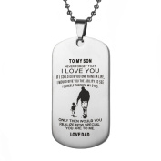 Men Fashion Dog Tag Necklace To my Son Dad Love Stainless Steel Perfect Birthday Gift Punk Jewellery