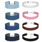 Aroncent 8 Pieces Choker Necklace Stretch Velvet Jean for Womens Girls