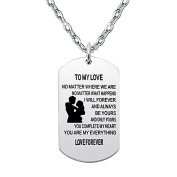 Necklace for Valentine - To my love / I belong to you and you are my everything / Love Forever
