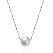 HMILYDYK Women Necklace Genuine 925 Sterling Silver Handmade Big Cultured Freshwater White Pearl Pendant Chain