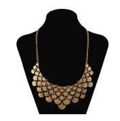 DELEY Vintage Alloy Ginkgo Leaves Collar Fashion Bib Antique Pendant Statement Necklace