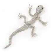 Oversized Clear Crystal 'Gecko Lizard' Brooch In Silver Tone - 20cm L