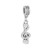 Bling Stars Music Notes Charms Microphone Headset Charms Bead with Elements Crystal Fits Pandora Charms Bracelet