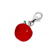 Sterling Silver & Enamel Red Apple Clip On Charm