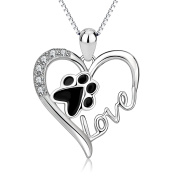 925 Sterling Silver Pet Paw Print Love Heart Pendant Necklace with Gift Box