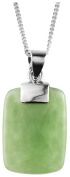 Silver/Green Jade Rectangle Pendant by Orton West