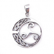 Solid Sterling Silver Triskelion with Celtic Moon Triskele Trinity Fylfot Pendant