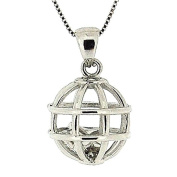 TOC Sterling Silver Caged Floating Star Pendant Necklace 46cm