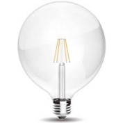8w Led Clear FIlament Lamp E27/ES Warm White 2700k 60 Light Output 806 Lumens Instant Full Light G125 Globe 125x170mm