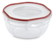 Sterilite 03938604 Ultra-Seal 2.4l Bowl, Clear Lid & Base with Rocket Red Gasket, 4-Pack