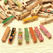 50 Pcs Cute Painted Wooden Mini Craft Pegs Cloth Photo Picture Hanging Spring Clips Clothespin^.