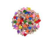 50PCS 3.5cm Colourful Mini Cartoon Wooden Heart Clip with 5M Hemp Rope & 4PCS Push Pin-Clothing Clips Pegs Paper Craft Clips Home Decoration Photo Clips for Party Wedding Using