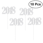 OULII 10pcs 2018 Cake Toppers Cupcake Picks Decorations Cake Toppers for 2018 Birthday Party Cake Decoration