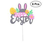 OULII 6pcs Happy Easter Cake Toppers Easter Rabbit and Flower Cake Toppers Cupcake Picks for Easter