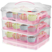 DuraCasa Cupcake Carrier | Cupcake Holder | Store up to 36 Cupcakes or 3 Large Cakes | Stacking Cupcake Storage Container | Cupcake, Cookie, Muffin or Cake Dessert Carrier