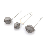 Fine Mesh Stainless Steel Tea Ball Strainer Set with 2 Chain Balls and 1 Snap Ball - Set of 3 - BambooMN