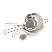 Fine Mesh Stainless Steel Strainer Seive Set with Tea Ball for Kitchen, Tea, Rice and Juice - Set of 4 - BambooMN