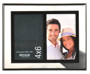 Pinnacle Frames and Accents 2-Opening Float Frame, 10cm by 15cm , Silver and Black