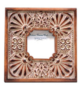 Caffco International Wood Picture Frame with Shell Design, 7.6cm x 7.6cm , Aged Brown